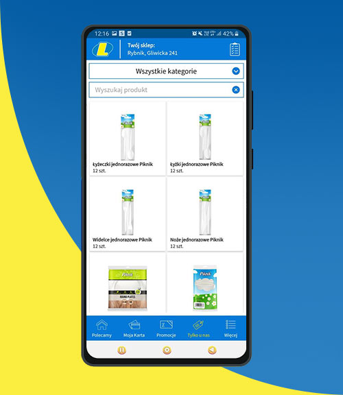 produkty waplikacji mobilnej MójLewiatan